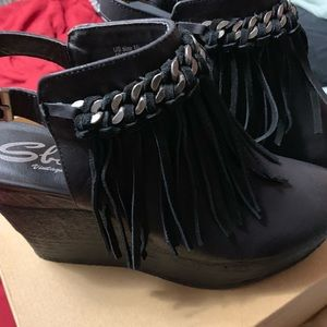 Sbicca Wedge Fringe open back booties
